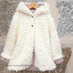 Abrigo de PELO beige/Rosa...
